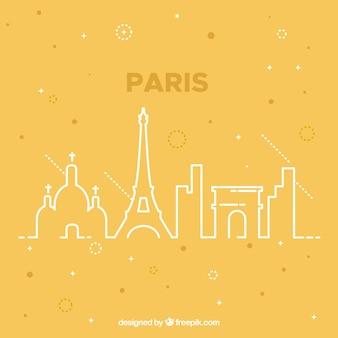Yellow skyline of paris design