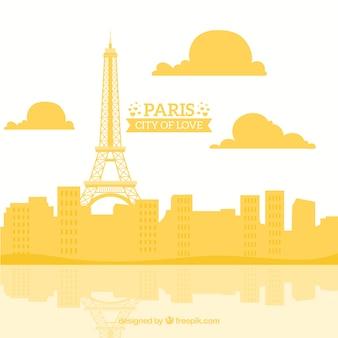 Yellow skyline of paris