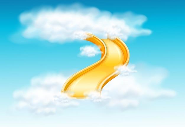 ふわふわの雲の中の黄色のスライド