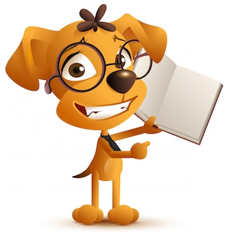 Желтая умная собака-учитель в очках держит открытую книгу