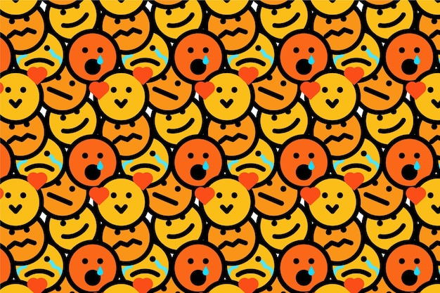 Yellow smile emoticons pattern
