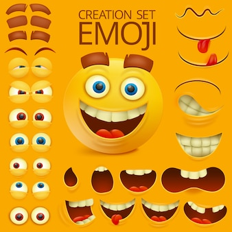 Yellow smile face character emotion big set