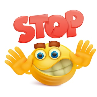 Yellow smile face emoji cartoon character with stop gesture