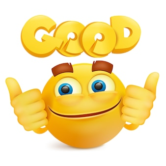 Yellow smile face emoji cartoon character.