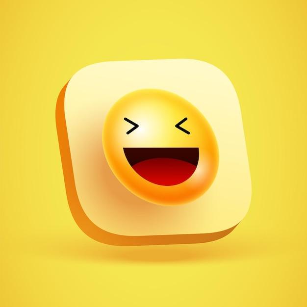 노란색 스마일 벡터 배경입니다. 노란색 3d 앱 아이콘에 재미있고 행복한 표정이 있는 이모티콘 또는 웃는 얼굴. 벡터 일러스트 레이 션.