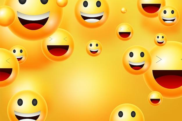 노란색 스마일 벡터 배경입니다. 텍스트 또는 프레젠테이션을 위해 노란색 빈 공간 배경에 재미있고 행복한 표정을 가진 이모티콘이나 스마일. 벡터 일러스트 레이 션.