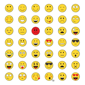 Yellow smiling face positive and negative people emotion icon set