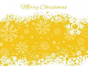 Yellow snowflakes background