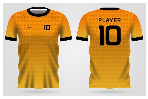 Желтая форма футболки для футбольного клуба, вид спереди и сзади футболки