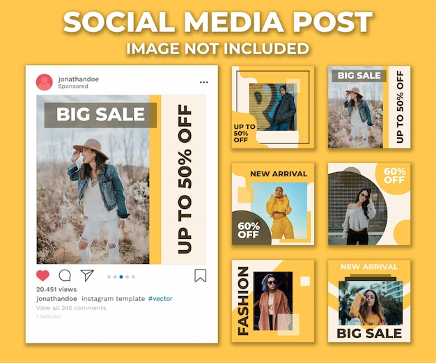 Yellow social media post design template vector