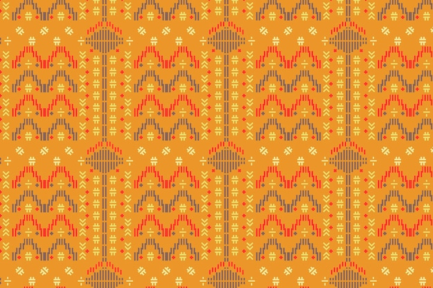 Yellow songket seamless pattern template