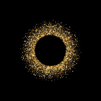 Yellow sparkle vector black background. effect