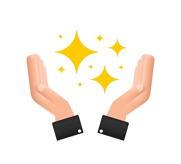 手に黄色の輝きのシンボルオリジナルのベクトル星のセット輝きアイコン明るい花火