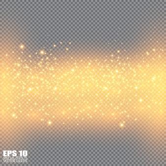 黄色の火花と輝く黄金の星