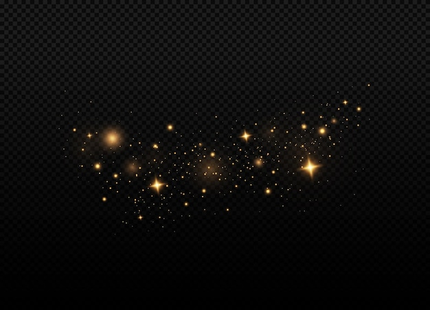 투명한 배경에 노란색 불꽃 반짝이 특수 조명 효과