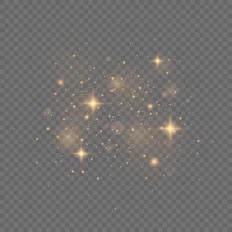 투명한 표면에 노란색 불꽃이 반짝이는 특수 조명 효과