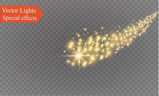黄色の火花がキラキラ光る特殊な光の効果。透明な背景の上で輝きます。クリスマスの抽象的なパターン。輝く魔法の塵粒子