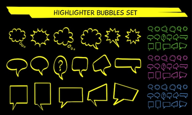 Yellow speech bubble highlight marker set vector