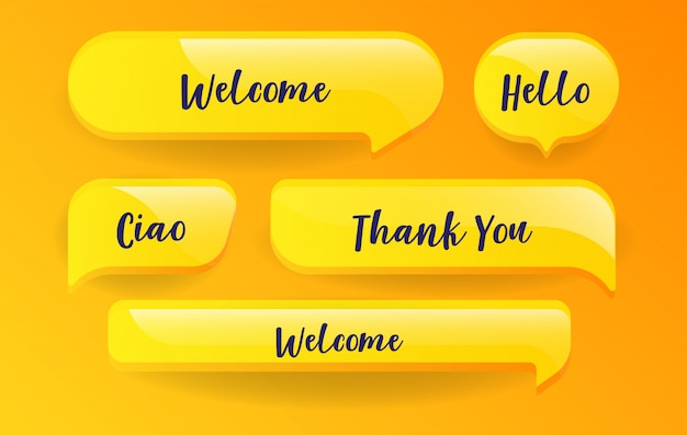 Yellow speech bubbles set with messages