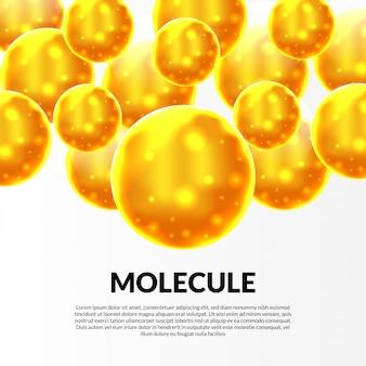 노란 구체 원자 분자 기름