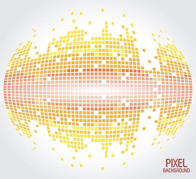 黄色の球のピクセルの背景