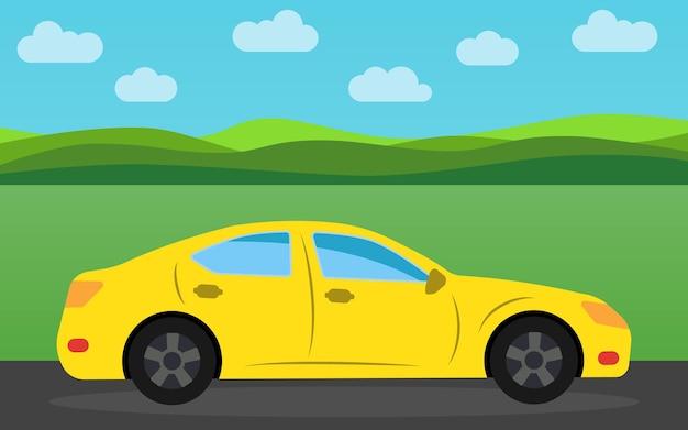 昼間の自然の風景を背景に黄色のスポーツカー。ベクトルイラスト。