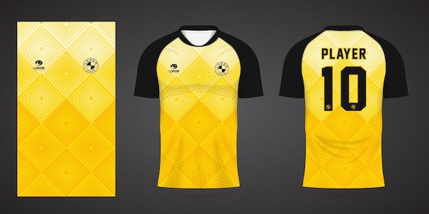 팀 유니폼과 축구 티셔츠 디자인을 위한 노란색 스포츠 저지 템플릿