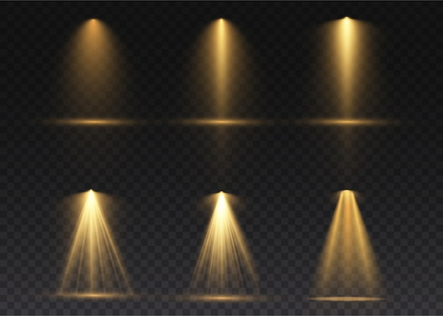 The yellow spotlight shines on the stage. light exclusive use lens flash light effect. abstract light from a lamp or spotlight. lighted scene. podium under the spotlight.
