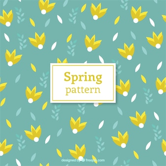 Yellow spring flowers pattern
