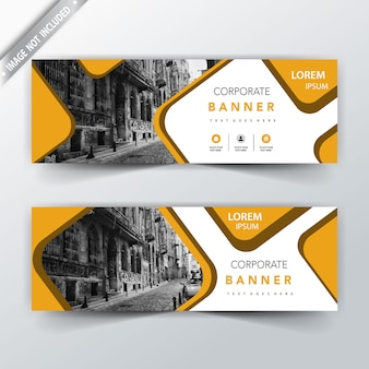 Yellow squared back and front web banner