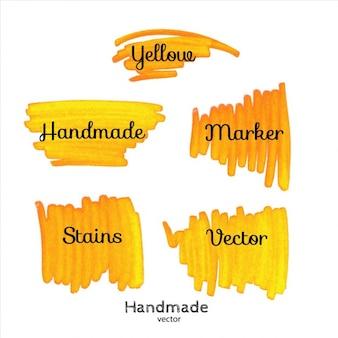 Желтые пятна маркера