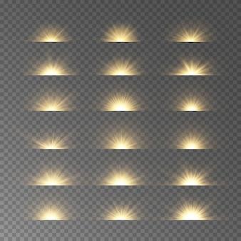 黄色のスターバースト。グロー効果、フレア、爆発。輝く水平スターライトのセットです。