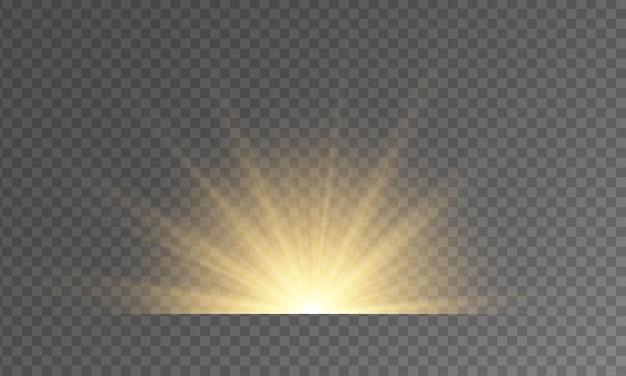 黄色い星のバーストの輝きグローライト効果の火花フレア爆発スターライトレンズフレア光線ボケ