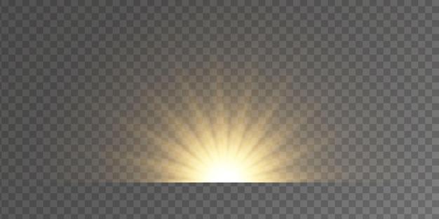きらめきのある黄色い星のバーストグローライト効果、星、火花、フレア、爆発