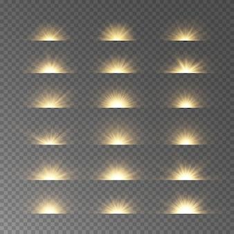 きらめきのある黄色い星のバーストグローライト効果、星、火花