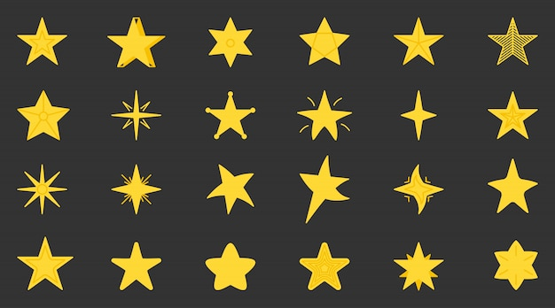 Yellow star icons set. flat simple graphic starry element collection for web site, pictogram, apps. different shapes cartoon stars as award in game.