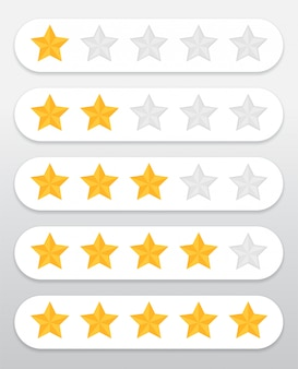 Yellow star symbol quality rating of products and services of customers through the website