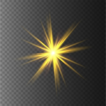Yellow stars, light, lens flare, glitter, sun flash, spark