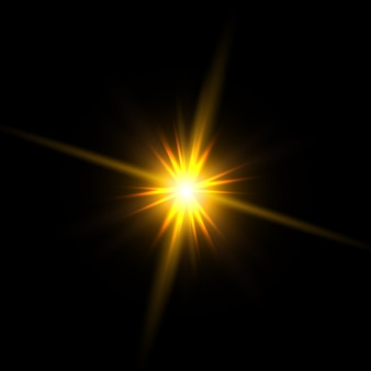 Yellow stars, light, lens flare, glitter, sun flash, spark