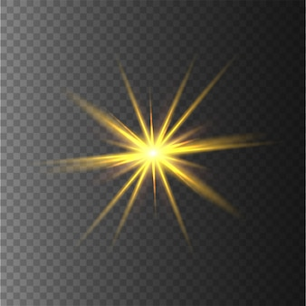 Yellow stars, light, lens flare, glitter, sun flash.