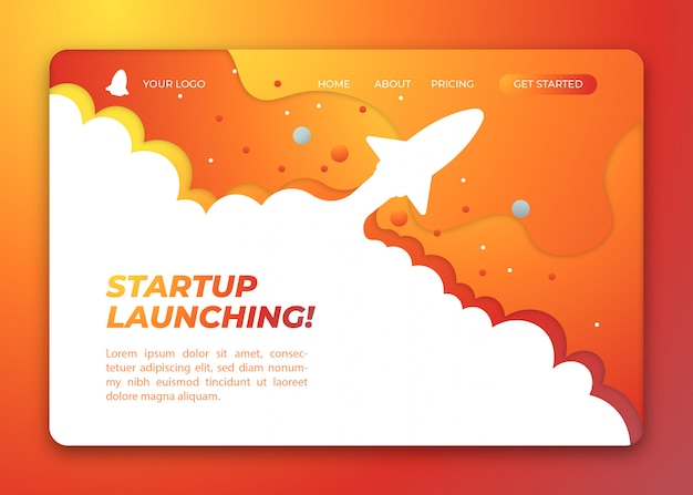 Yellow startup launching with rocket concept illustration landing page template