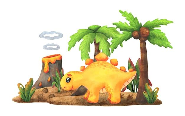 노란색 스테고 사우루스는 화산과 야자수가있는 섬에 선다. 만화 공룡.