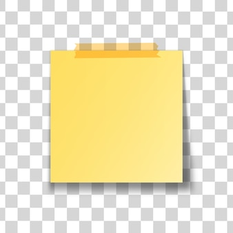 Yellow stick note isolated on transparent background.