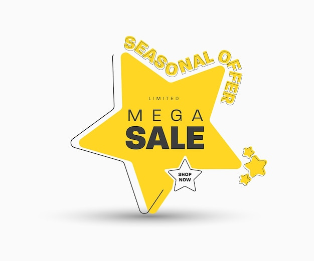 Желтая наклейка в виде звезды, стоящая на углу для мега большой распродажи. шаблон баннера с черным текстом и инсультом. сезонные скидки