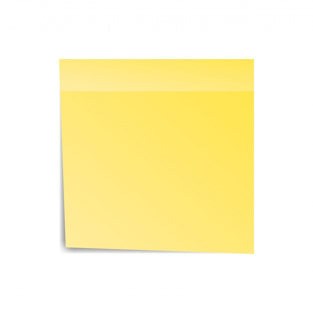 Yellow sticker paper note for notice. sticky page. blank with shadow isolated on white background. vector illustration