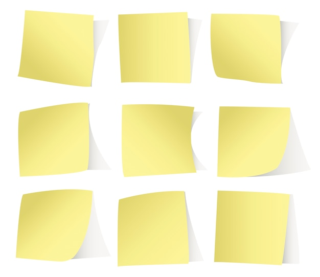 Yellow stickers isolated on white background
