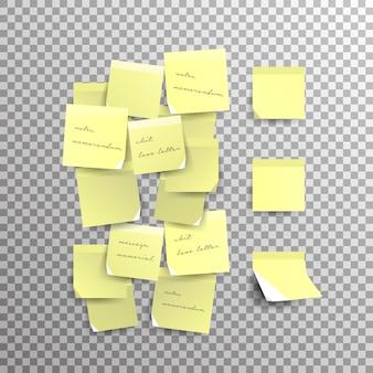 Желтый записки, изолированные на прозрачном фоне. шаблон для ваших проектов. иллюстрации.