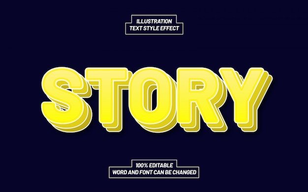 Yellow story pile up text style effect