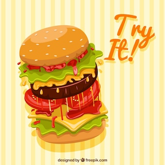 Yellow striped background with a big burger