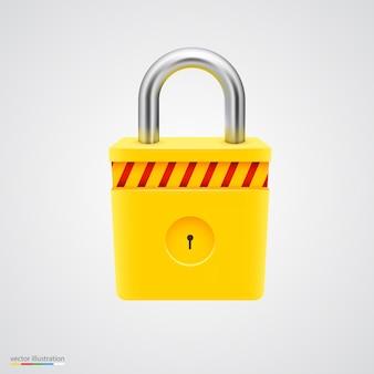 Yellow striped padlock on white surface.